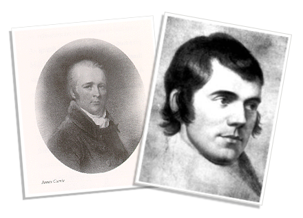 Left: James Currie. Right: a portrait of Burns by Archibald Skirving, published in The Works of Robert Burns, by Blackie and Son, Glasgow, 1854.
